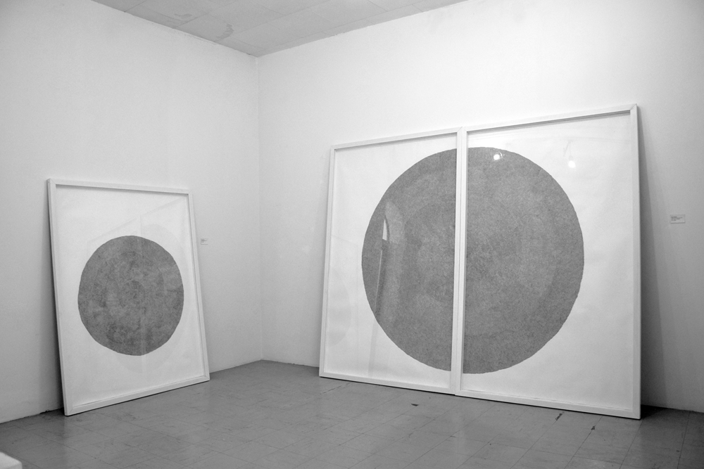"""Installation view: Circles of Uncertainty (5) & (6)    Zimbabwe Pavilion, at the 57th Venice Biennale 2017  """"Deconstructing Boundaries: Exploring Ideas of Belonging"""" curated by Raphael Chikukwa.   Photo: Dana Whabira, courtesy the National Gallery of Zimbabwe."""