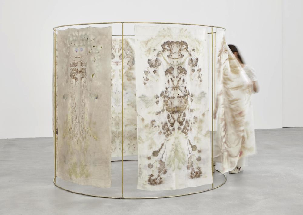 Chiara Camoni, Sans titre (l'hiver) #04,  Impression végétale sur soie, 87 x 42 cm, 2017,  Courtesy Arcade, Londres.