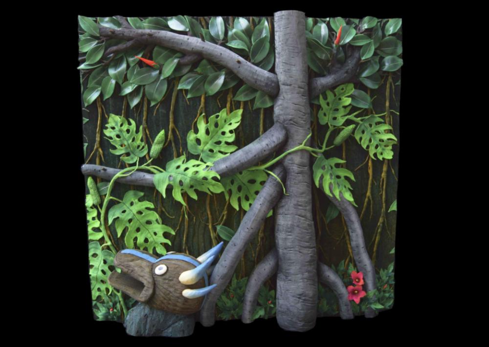 Piero Gilardi, Maschera e Ficus, 2019, Tapis-nature, 150 x 150 x 40 cm, Courtesy de l'artiste