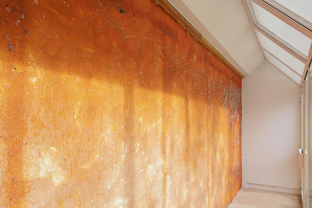 """""""Mur de poils de carotte"""", Michel Blazy, Vue de l'exposition """"Pendant que les champs brûlent"""", Maison des Arts Georges et Claude Pompidou, 2020. Photo © Yohann Gozard."""