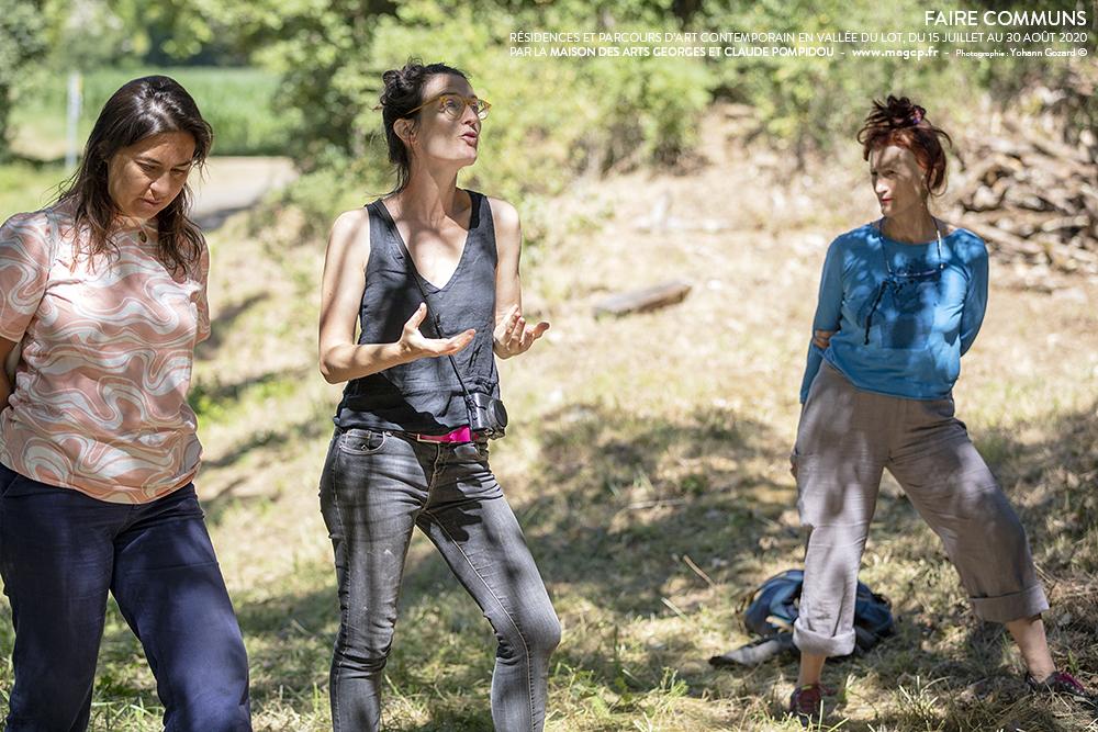 Les Pains de l'Alleu, lancement du four, Marie Preston, Graziella Semerciyan, Line Gigot (absente sur l'image) avec Martine Michard, cocommissaire.