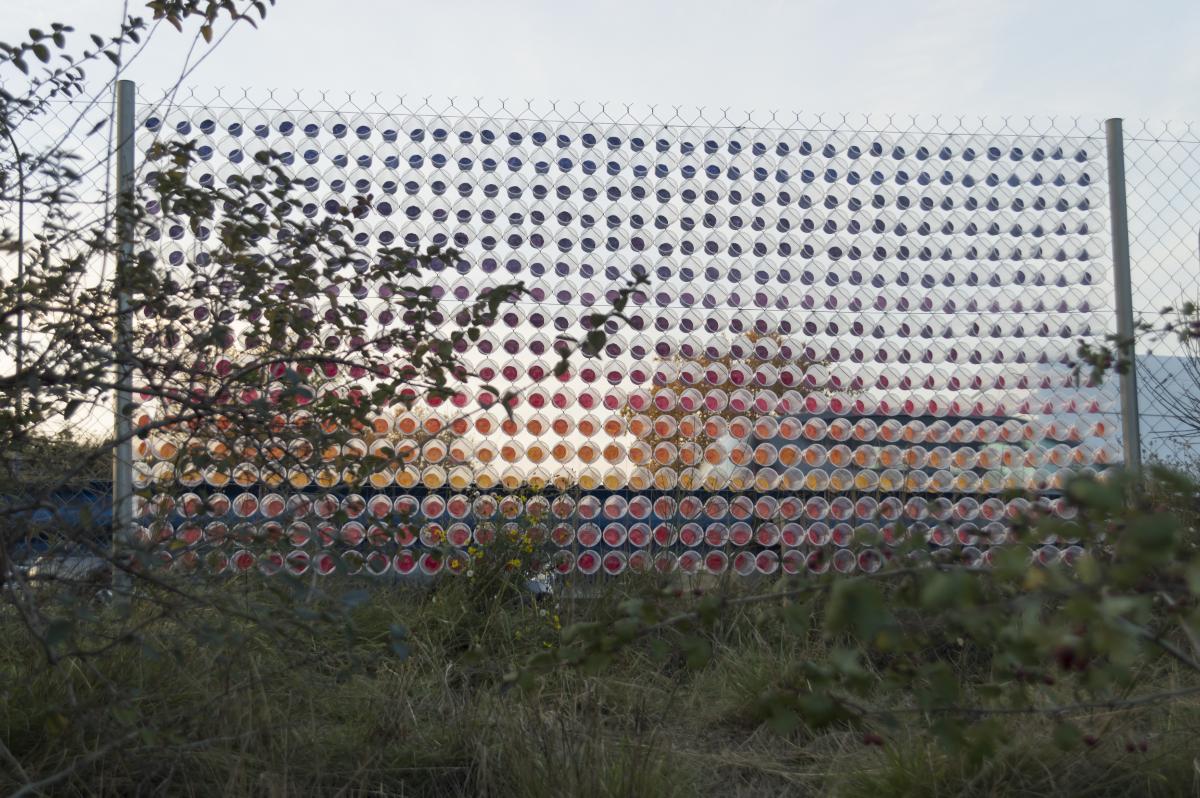 """Louis Dassé, """"Double couché de soleil sur deux fois deux voies"""", 2017, installation, Toulouse. Courtesy de l'artiste"""