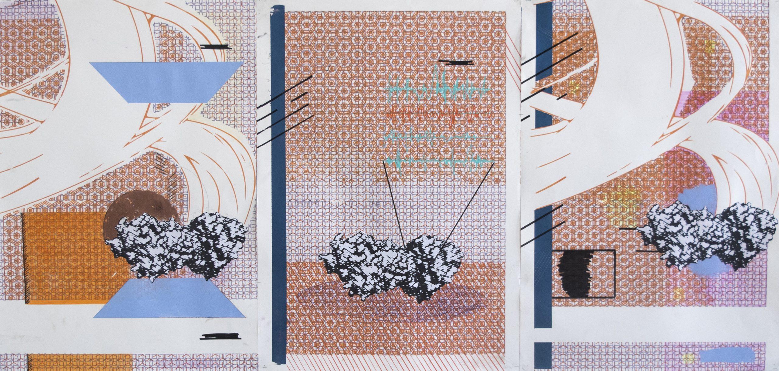"""""""First Impact"""", Thomas Gasquet,  2020 Sérigrapghie,collage et acrylique sur papier"""